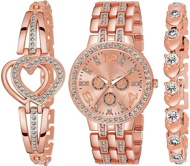 DKERAOD D+235 genva Rose gold 2 pice bracelet Analog Watch  - For Girls