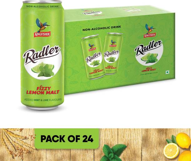 Kingfisher Radler Non Alcoholic Malt Drink - Mint & Lime, 24 x 300 ml Can