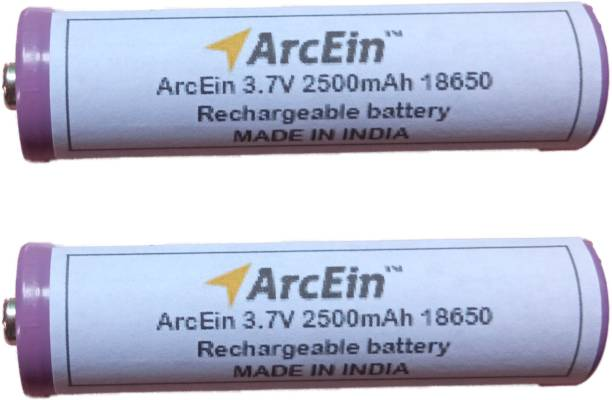 ArcEin 3.7V 2500mAh 18650 Rechargeable Lithium ion  with Button Top for DIY projects ,torches  Battery