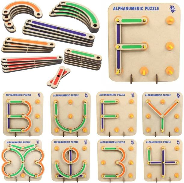 TechHark Learning Educational Puzzles Board With Wooden Quality,Alphabets and Numerical 1 to 9 Digit and multi Shape Toys for Kids 3 4 5 Years 28 Piece Wooden Construction