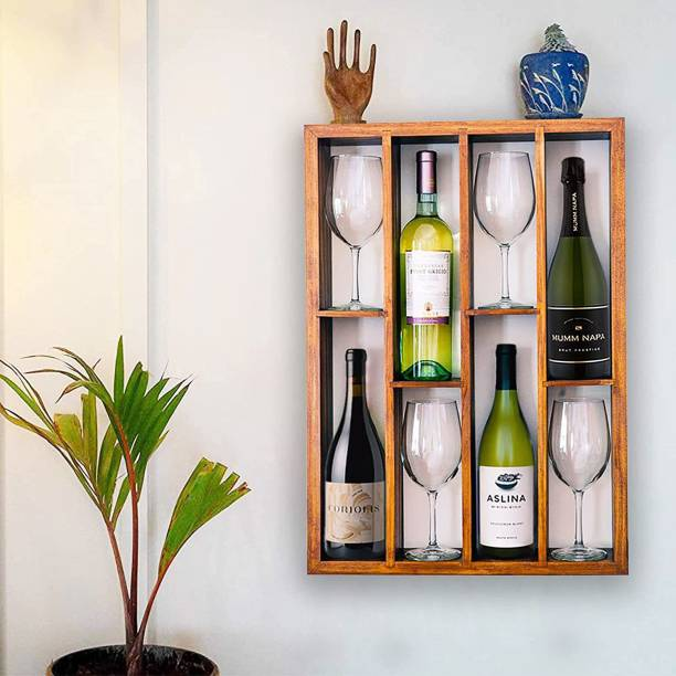 Timberly Wooden Wine Rack Wall-Mounted Shelf with 4 Bottles and 4 Glasses Stacking , Wodden (25/20 Inch) Capacity for Living Room, Bedroom and Garden, Solid Wood, Natural Finish (Walnut) Solid Wood Bar Cabinet
