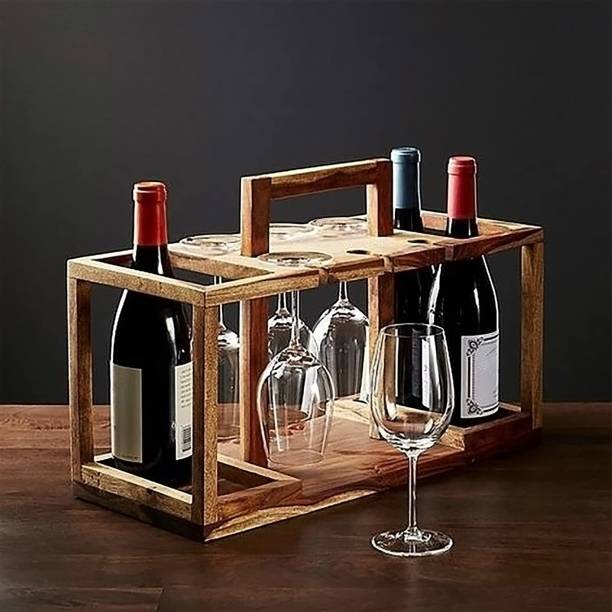 Timberly Easy to Carry Wine Rack Stand Wine Bottle Holder Basket Bar Trolley for Bedroom Home Wooden Bar Furniture for Living Room, Office Solid Wood Bar Cabinet