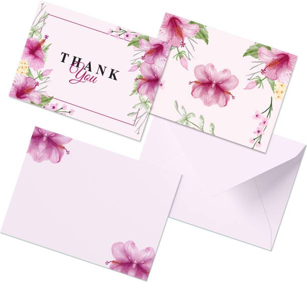 CLICKEDIN Stylish Floral Printed, 24 Envelops and Thank You Greeting Card