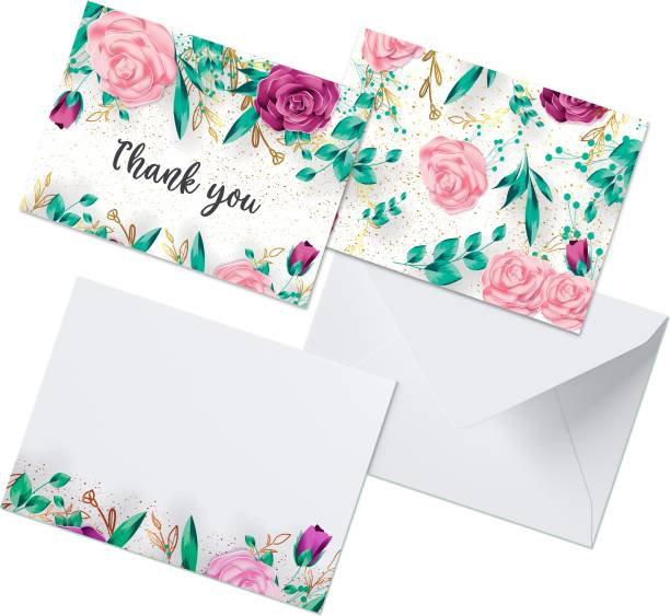 CLICKEDIN Floral Designed, 24 Envelops and 24 Thank You Greeting Card