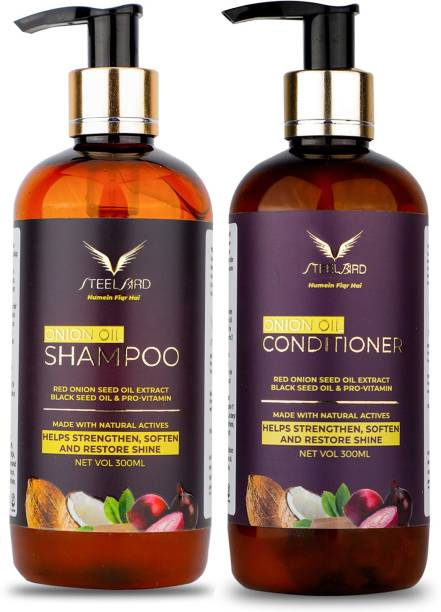 Steelbird Hair Care COMBO with Onion Hair care Products, (Onion Hair Shampoo+Hair Conditioner) 600ml