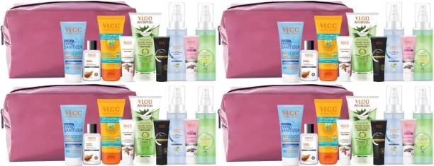 VLCC Nourish & Shine Kit with Pouch | skin Care, Hair Care, hygiene Essentials Combo for women | beauty combo set for women | beauty gift set | beauty Sets | skin care combo - Pack of 4