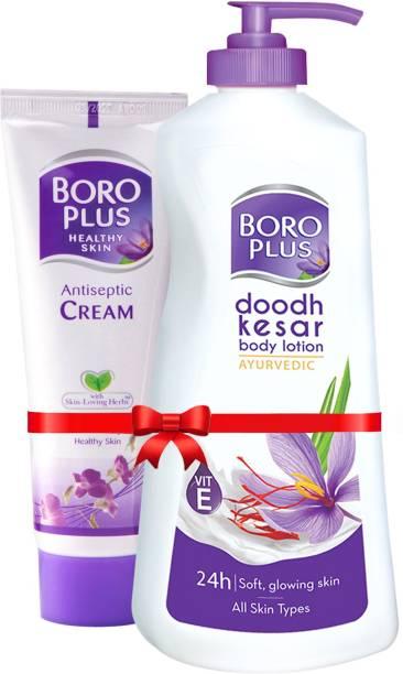 BOROPLUS Doodh Kesar Body Lotion 400 ml + Antiseptic Cream 120ml