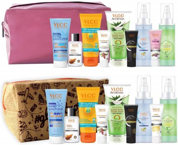 VLCC Shine and Glow Kit with Pouches | skin Care, Hair Care, hygiene Essentials Combo for women | beauty combo set for women | beauty gift set | beauty sets | skin care combo