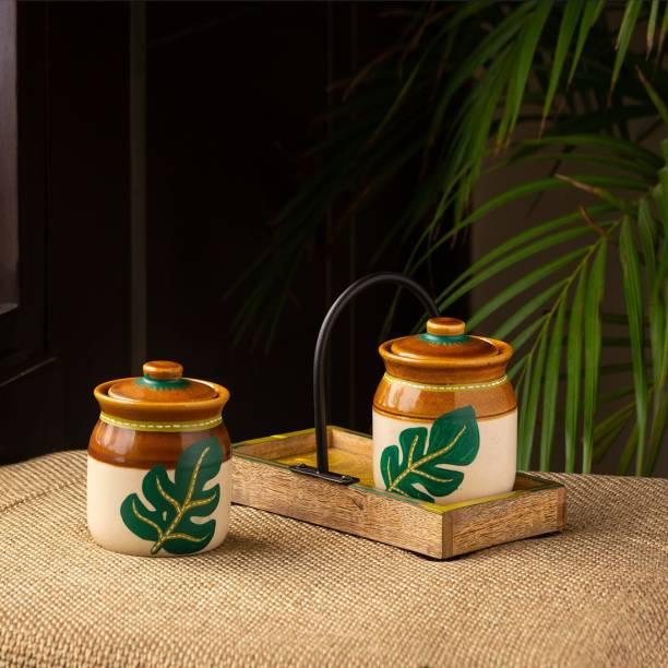 ExclusiveLane Handpainted Pickle & Chutney Jar Set with Tray 2 Piece Spice Set