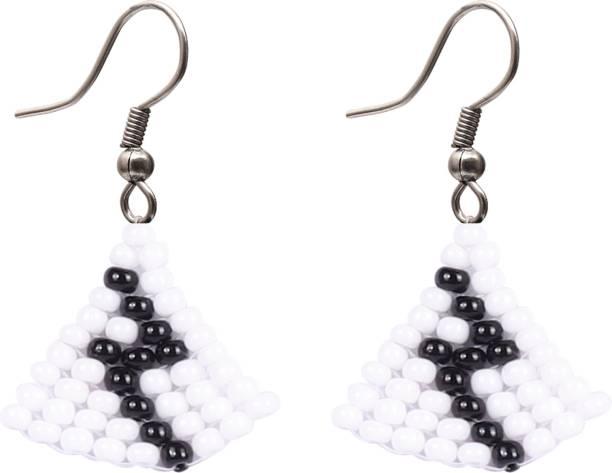Ethonica Black & White Earrings, Seed Beads Earrings, Small Size Beaded Earrings, Drop Dangle Earrings Beads Alloy Drops & Danglers