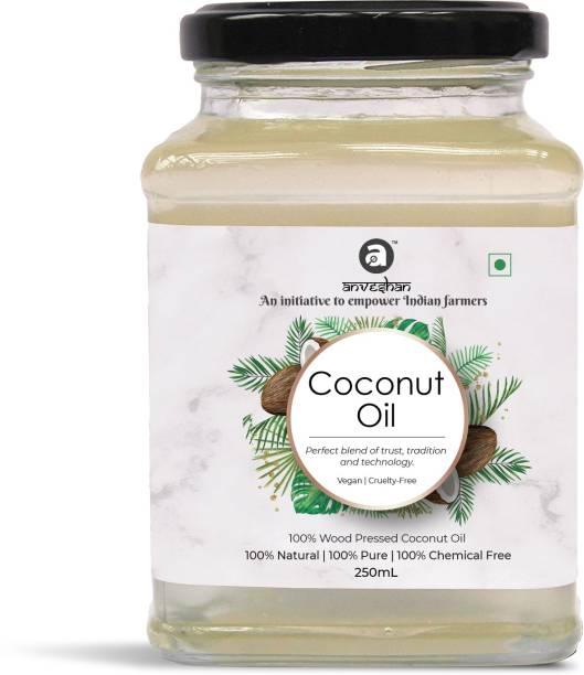 Anveshan Wood Pressed Coconut Oil - 250 mL   Glass Jar   Kolhu/ Kacchi Ghani/ Chekku   Natural   Chemical-Fr Coconut Oil Jar
