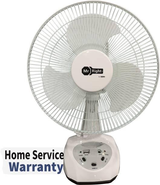 """MrRight by Fippy MR-5912 1 Year Home Service Warranty AC/DC 12"""" Oscillating Rechargeable Fan/ Battery Fan 304.8 mm Silent Operation 3 Blade Table Fan"""