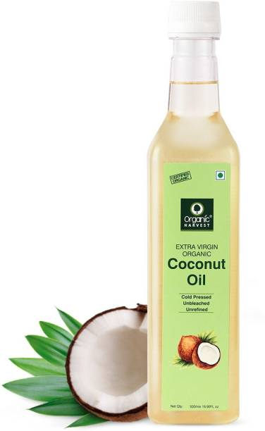 Organic Harvest Cold Pressed Extra Virgin Coconut Oil For Men & Women | Ideal For All Type Skin & Hair Growth | Unbleached & Unrefined | Sulphate & Paraben free Hair Oil