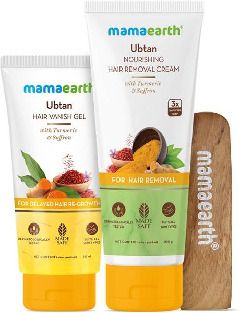 MamaEarth Ubtan Nourishing Hair Removal Cream Kit, for Sensitive Skin, Made Safe Certified with Turmeric & Saffron, with Hair Vanishing Gel & Wooden Spatula Cream