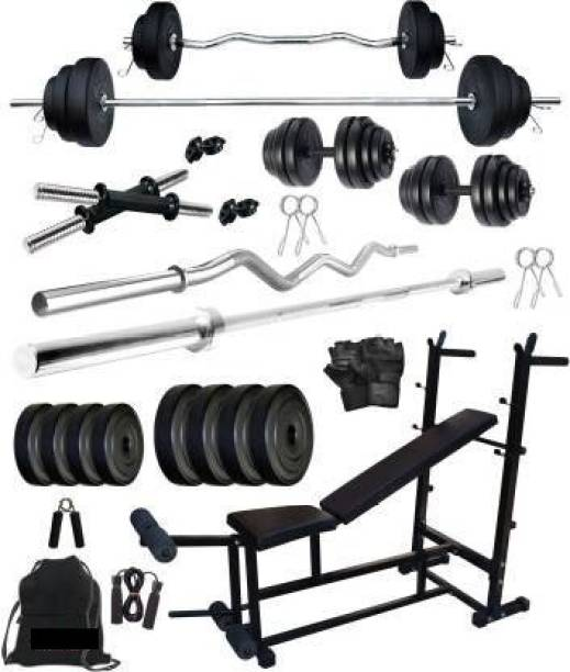 EXTREME FIT 30 kg Rubber Plates With Fitness bench Home Gym Combo