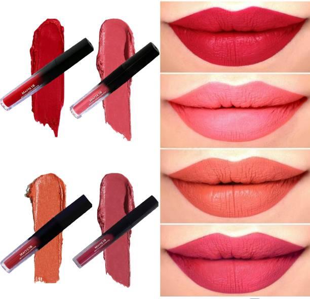 MATTE18 Liquid Matte Lipstick Liquid Lipstick Combo, Waterproof Liquid Lipstick Combo of 4 ( Multicolor, 20ml ) Red Retro, Pink Nude, Caramel Nude, Pink Punch
