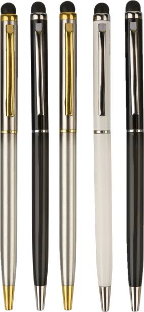 TEUER I-Smart Multicolour with Mobile Touch Stylish Metal Ball Pen ( Pack of-5 ) Ball Pen