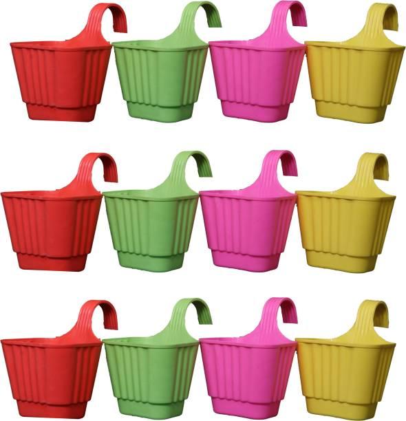 Picvel Premium Railing Hanging Flower pots Indoor Outdoor Stylish Gardening Planter Set Plant Container Set