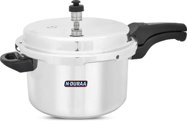 N-DURAA Aluminium Domestic Pressure Cooker 5 Litres|Energy Efficent Cooking|Safe,Withstand high Pressure and Long lasting|ISI Certified|Gas Compatitable 5 L Pressure Cooker