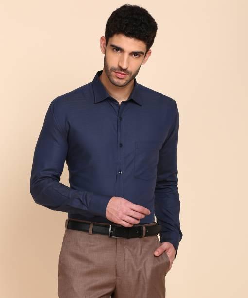 PARK AVENUE Men Self Design Formal Dark Blue Shirt