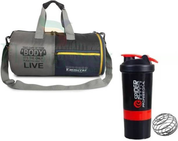 EMMCRAZ silver shoes compartment gym bag with protein mixer bottle