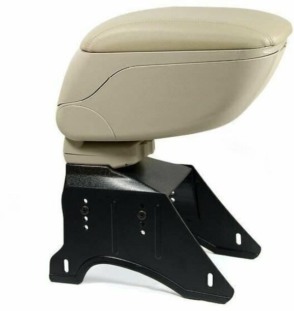 PRTEK Universal Beige Car Center Console Armrest Storage Box with Adjustable Bracket Car Armrest