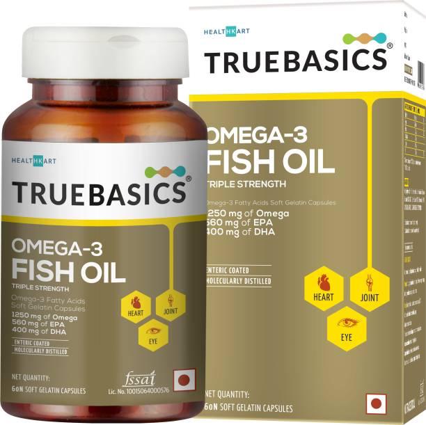 TrueBasics Omega-3 Fish Oil Triple Strength, 560mg EPA & 400mg DHA (60 No)