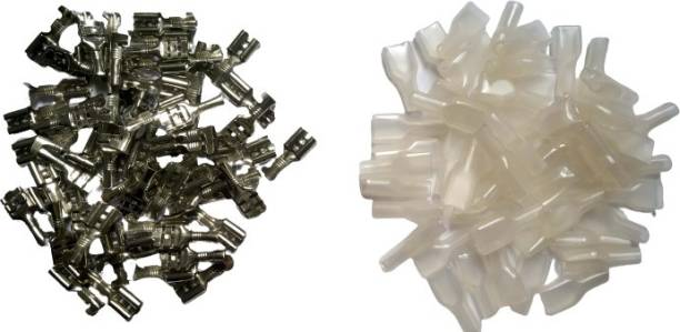 Aameria 100pcs Thimble+100pcs Thimble Cover 6mm Electrical Wire Cable Thimble + Thimble Cover Lugs Crimp Thimmble with Transparent Plastic Insulating Sleeves for PCB, DIY Project, Automobiles, Bike, Speaker, RO Water Purifier, Appliances, AC Wire Connector Thimmble with Transparent Silicon Plastic Insulating Sleeves for PCB, Automobiles, Bike, Speaker, RO Water Purifier, Appliances, AC, DIY Project Wire Connector