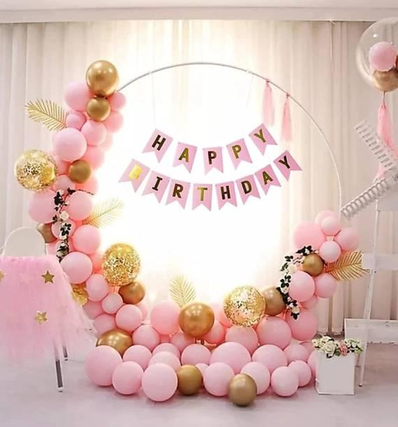 TRISHRA Solid (56 Pcs) Happy Birthday Banner with HD Pastel & Metallic Balloons Confetti Balloons Decoration Kit Set Decorations Items Combo Set Balloon