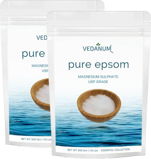 Vedanum Organic Epsom Bath Salt, USP Grade Magnesium Sulphate for Bathing, Foot Soak, Acne, Massage, Muscle Relief, Flowers, Garden
