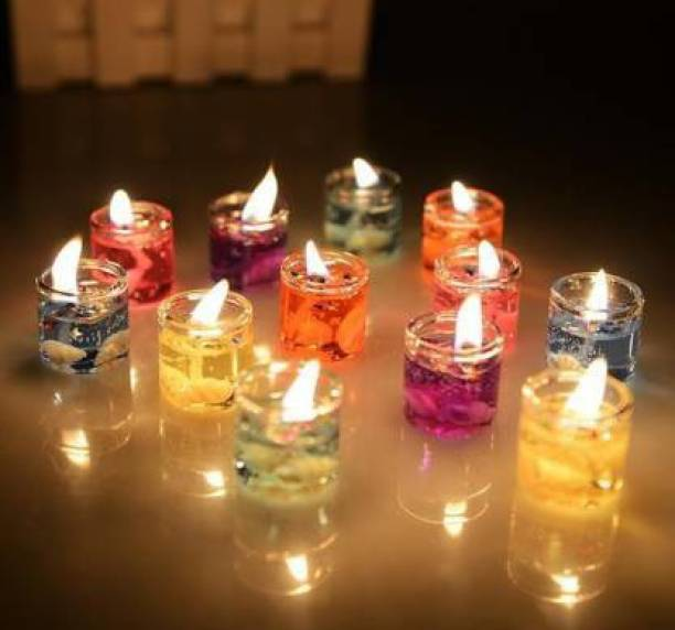 RMC Cute Little Glass Gel Candles Multicolour 12 pieces For Diwali Gift / Festival Decoratio Candle