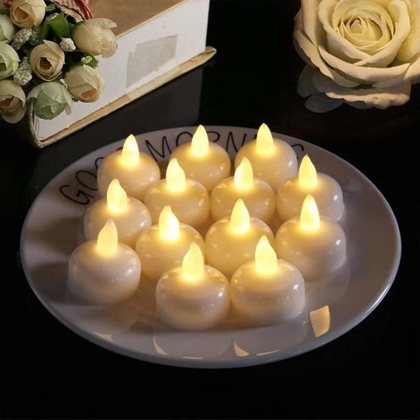 mervlex New Floating Tealight Diyas, Battery Operated LED Light Diya with Water Sensor (Set of 12) | White Colour | No Electricitry Needed | Waterproof | Perfect for Home Decoration, Festivals, Birthday, Parties, Dinner, Wedding, Bar and Restaurant Candle
