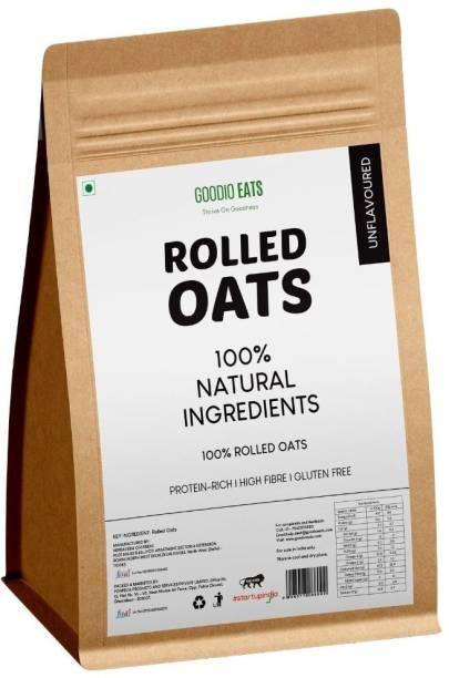 GOODIO EATS Rolled Oats 1.5 kg (750 g x 2) - Gluten Free, High in fibre, Protein rich (Jumbo wholegrain oats   Breakfast Cereal)