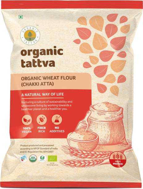Organic Tattva Organic Wheat Flour (Chakki Atta) | 100% Vegan and Whole Wheat Atta | Rich in Dietary Fiber, Protein and Essential Vitamins | NO Cholesterol and NO Trans Fat |