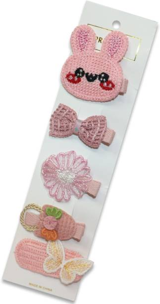krelin Baby Girl's Korean Version of The Fruit Hairpin for Baby All-Inclusive Card Edge Clip Soft Clip Jewelry 5Pieces Multicolor( pink_2) Hair Pin