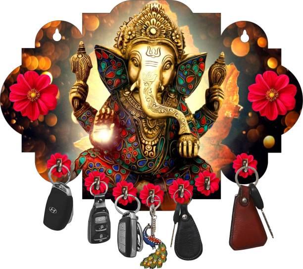 Naraniya Creation Flower Ganesh Wood Key Holder