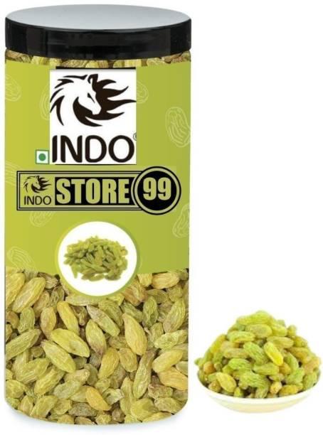 indostore99 Nature Green Raisins Kismish 250g / Greem Kismis Dry Fruits Raisins (Jar Pack) Raisins