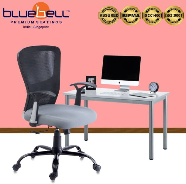 Bluebell POLO ERGONOMIC MED BACK REVOLOVING/EXECUTIVE/WORKSTATION CHAIR WITH ADJUSTABLE LUMBER SUPPORT,ERGONMICALLY DESIGNED FIX ARMS AND BREATHEABLE MESH BACK(BLACK-GREY) Mesh Office Executive Chair