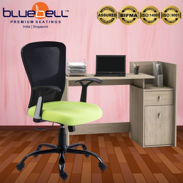 Bluebell POLO ERGONOMIC MED BACK REVOLOVING/EXECUTIVE/WORKSTATION CHAIR WITH ADJUSTABLE LUMBER SUPPORT,ERGONMICALLY DESIGNED FIX ARMS AND BREATHEABLE MESH BACK(BLACK-GREEN) Mesh Office Executive Chair