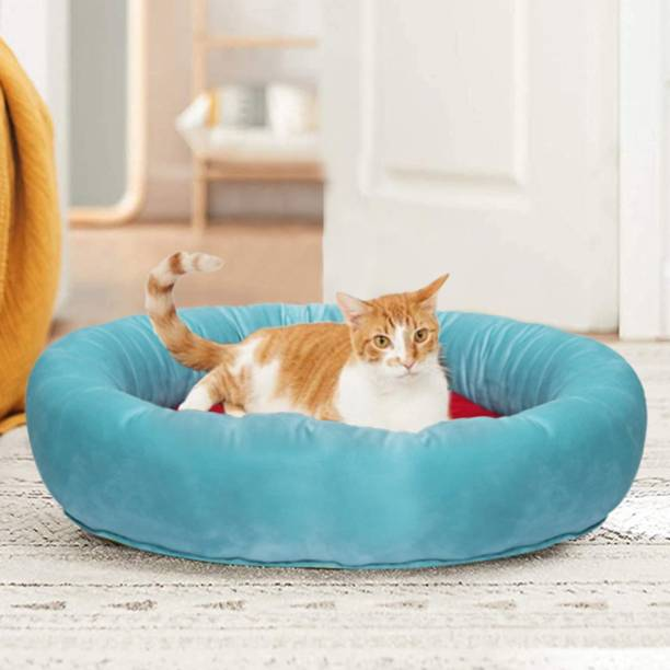 Hiputee Round Reversible Aqua- Green Soft Holland Velvet Pet Bed for Cats and Toy Breed Dogs (Diameter 61 cms Height 15 cms) S Pet Bed