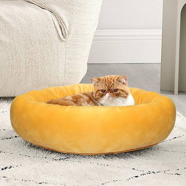Hiputee Round Reversible Yellow Blue Soft Holland Velvet Pet Bed for Cats and Toy Breed Dogs (Diameter 61 cms Height 15 cms) S Pet Bed
