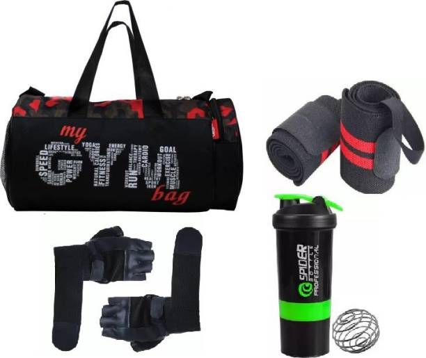 EMMCRAZ Multicolr gym bag with spider protein shaker with gym gloves and wrist support