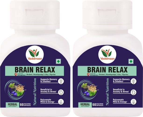 vaddmaan Brain Relax - 60 Capsules, | Brahmi | Shankhpushpi | KSM-66 Ashwagandha | Giloy | Mind Rejuvenation | Cognitive Wellness, Pack Of 2