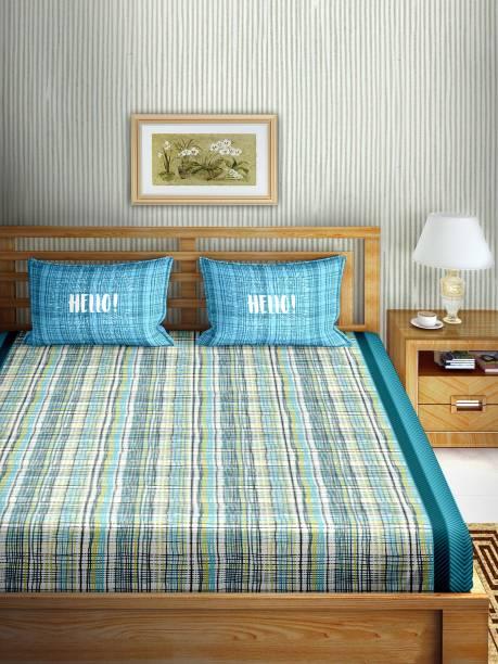 BELLA CASA 160 TC Cotton Double Checkered Bedsheet