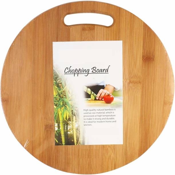 MobFest ®Round Shape Wooden Chopping/Cutting Board, Vegetable Chopping Board with Handle for Kitchen Meat, Vegetables, Cheese and Fruits, 34cm Size Wooden Cutting Board