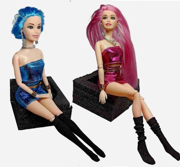 ASzodiac Fully Foldable Barbie Doll Set Combo For Girls (Pack of 2)