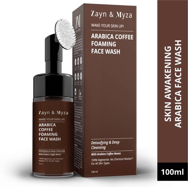 ZM Zayn & Myza Arabica Coffee Foaming  With built in Exfoliating Brush - For All skin types, Blemish free, Even skin tone, Detoxifying & Deep Cleansing, 100% Vegetarian Face Wash