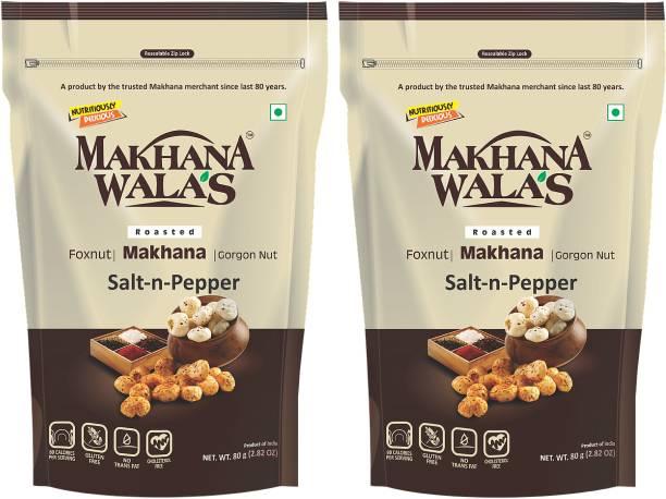 Makhanawala's Roasted Makhana (Foxnuts)/ Gorgon nut  Salt & Pepper  Gluten Free Vegan Snacks   Healthy Diet Immunity Booster Snacks   Flavored makhana, Pack of 2, 80 g Each.