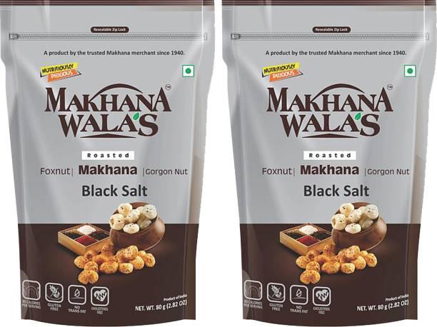 Makhanawala's Roasted Makhana (Foxnuts)/ Gorgon nut  Black Salt   Gluten Free Vegan Snacks   Healthy Diet Immunity Booster Snacks   Flavored makhana, Pack of 2, 80 g Each.