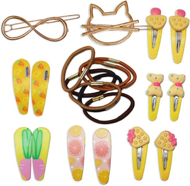 krelin Hair Clips Set Hair Bands No Slip Metal Snap Hair Clips Hair Ties Hair Accessories Cute Hairpins For Baby Girls Teens ToddlersPonytail Holder Hairpins Set For Baby Girls Teens Toddlers, Assorted styles(mix_6) Hair Clip